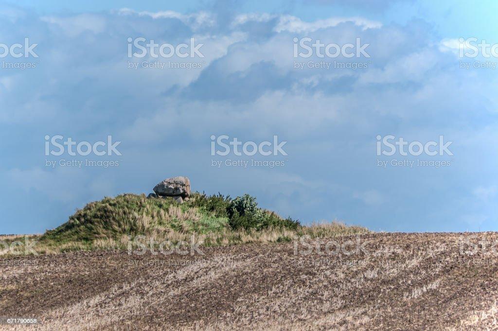 Dolmen in field stock photo