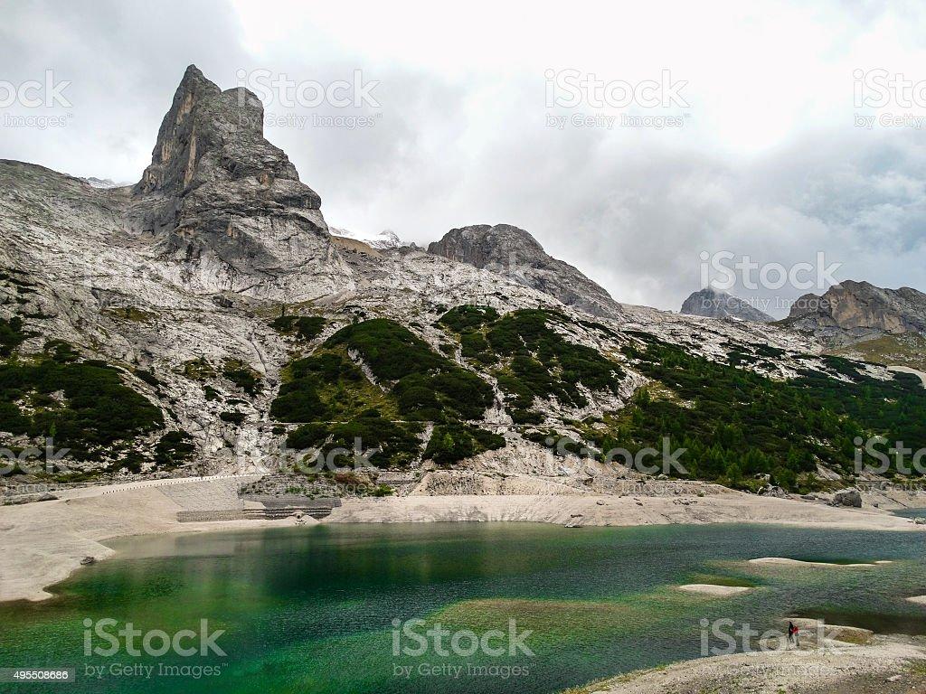 Dolomite alps Italy Mountain lake stock photo