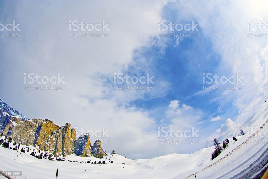 Dolomite mountains, Sella pass royalty-free stock photo