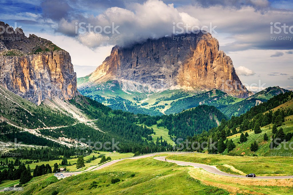Dolomite peaks (South Tyrol, Italy). stock photo