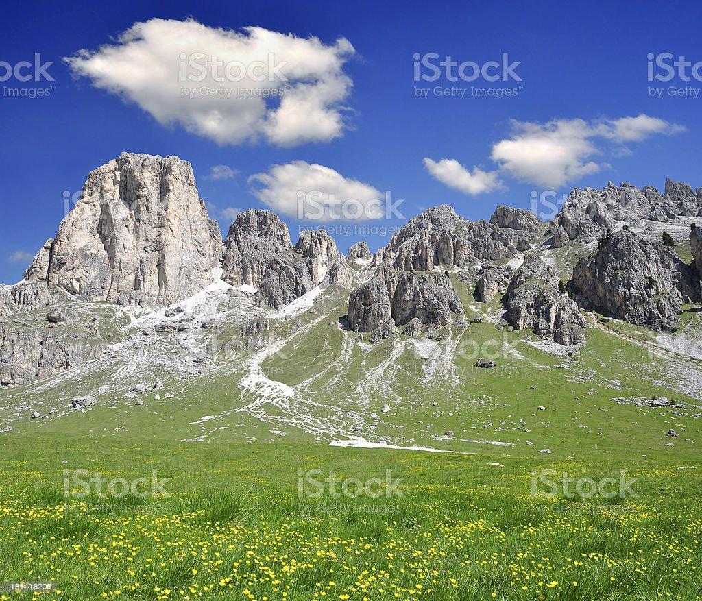Dolomite peaks, Rosengarten royalty-free stock photo
