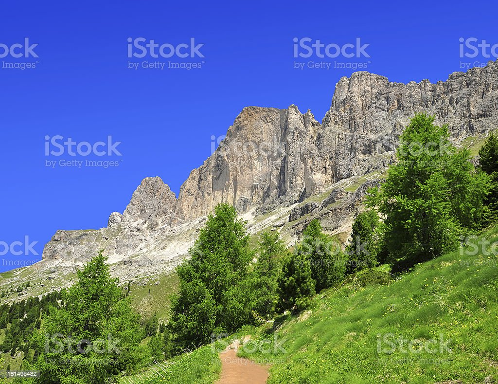 Dolomite peaks, Rosengarten royalty-free stock photo