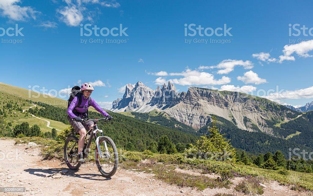 Dolomite Summer Mountainbiking, Italy stock photo