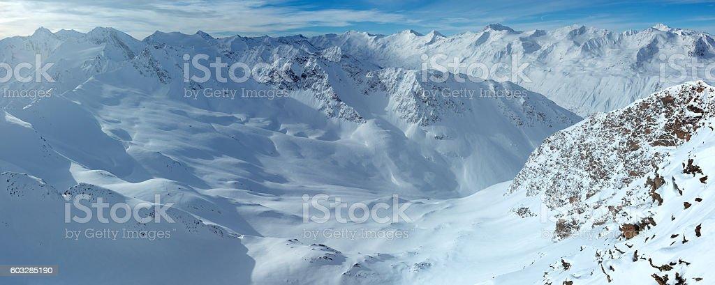 Dolomiten Alps winter view (Austria). Panorama. stock photo