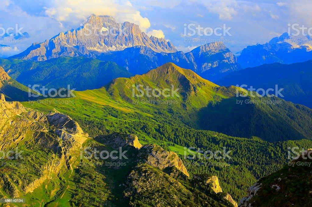 Dolomites above Lagazuoi, Monte Civetta at sunset, Italian Tirol stock photo