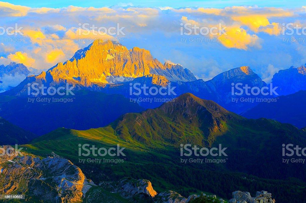 Dolomites above Lagazuoi, Monte Civetta summit pinnacles sunset stock photo
