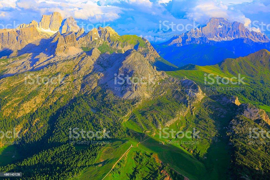 Dolomites above Lagazuoi, Monte Pelmo, Civetta at sunset, Sudtirol stock photo