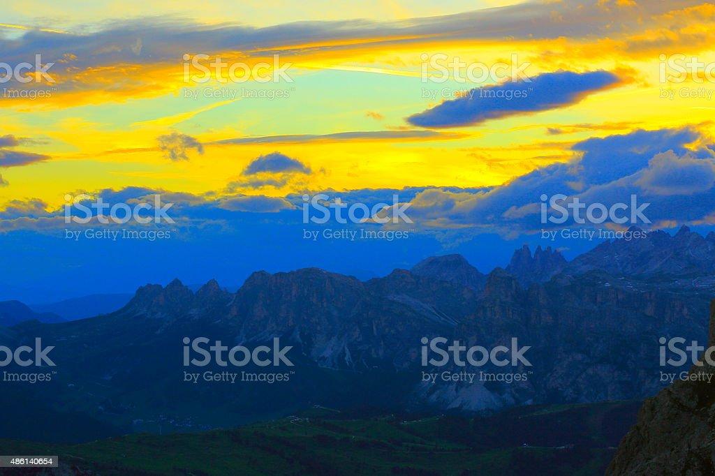Dolomites above Lagazuoi, Val Gardena pass dramatic sunrise stock photo