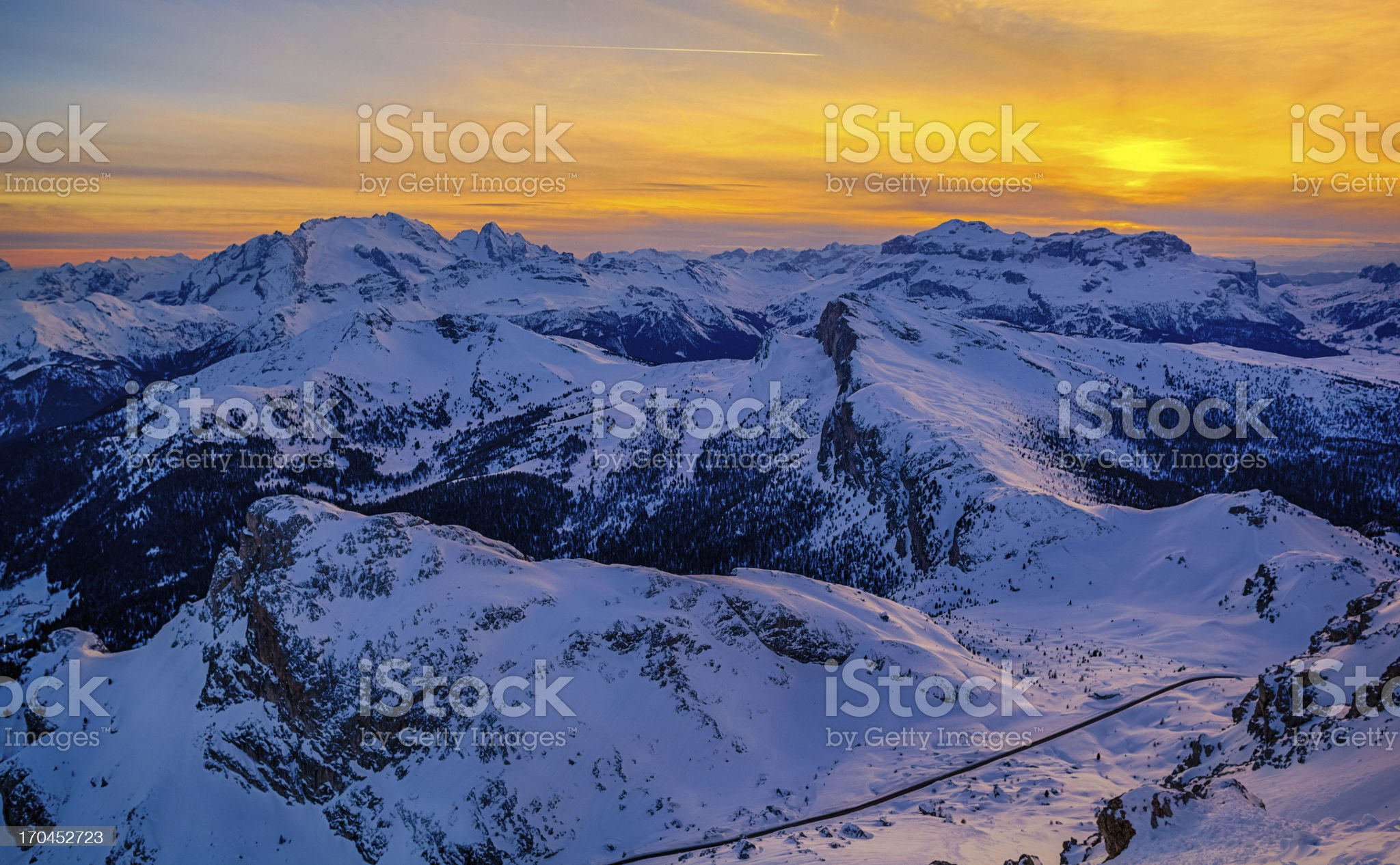 Dolomites at Sunset during Winter royalty-free stock photo