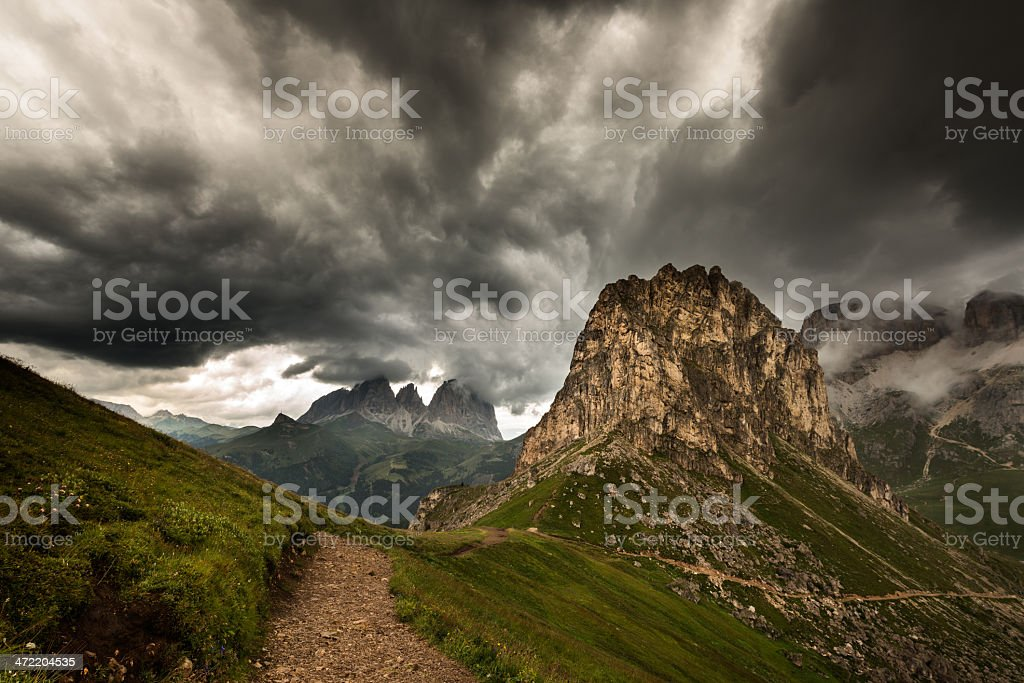 Dolomites between thunderclouds royalty-free stock photo