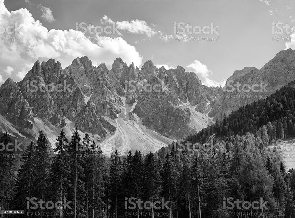 Dolomites. Black and White royalty-free stock photo