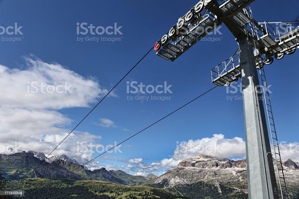 Dolomites cableway stock photo