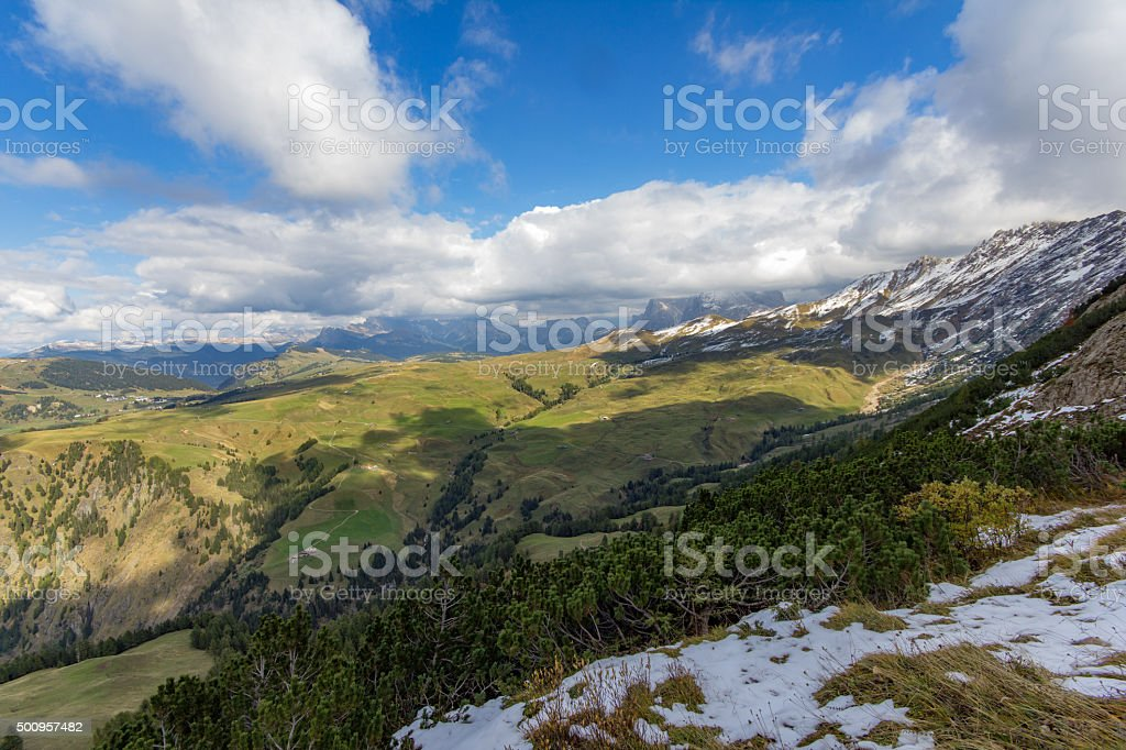 Dolomites from above. stock photo