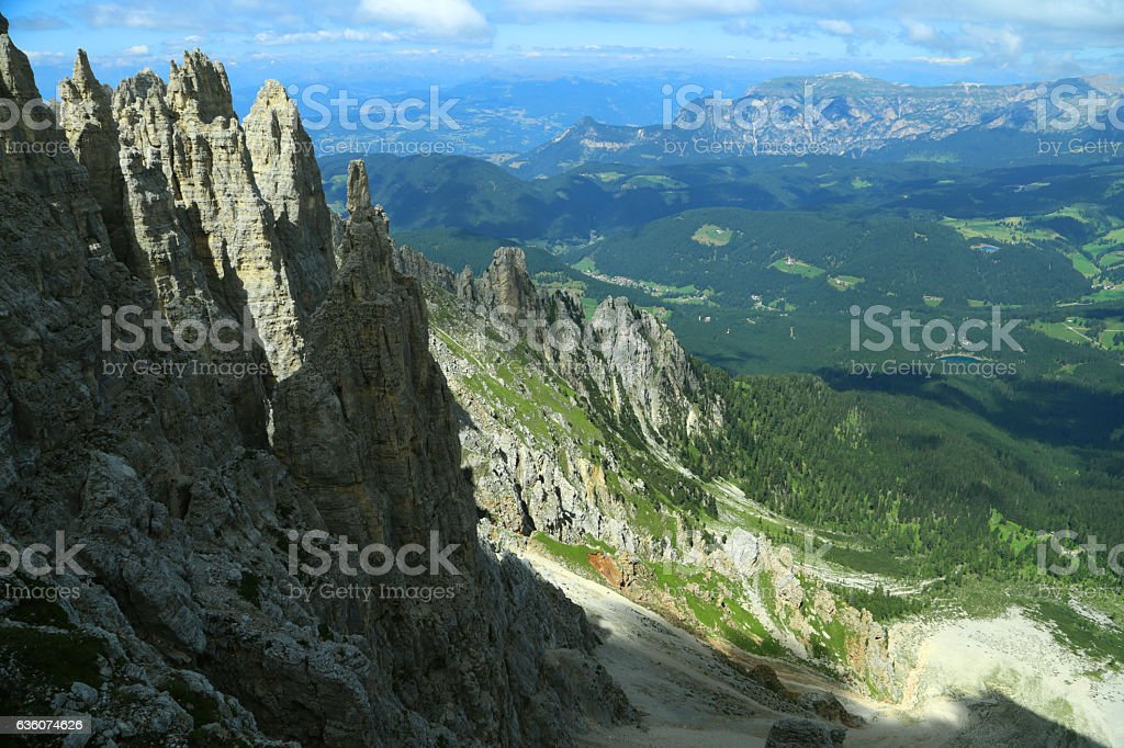 Dolomites group and Siusi mountain. View from Latemar's towers stock photo