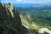 Dolomites group and Siusi mountain. View from Latemar's towers