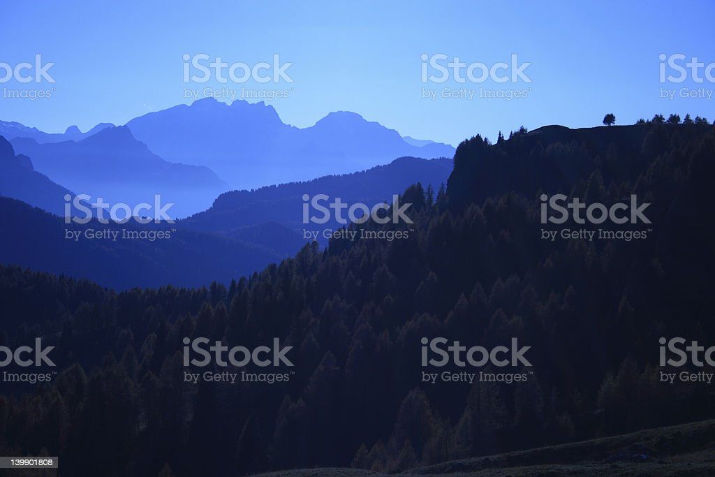 Dolomites in a Blue Sunset stock photo