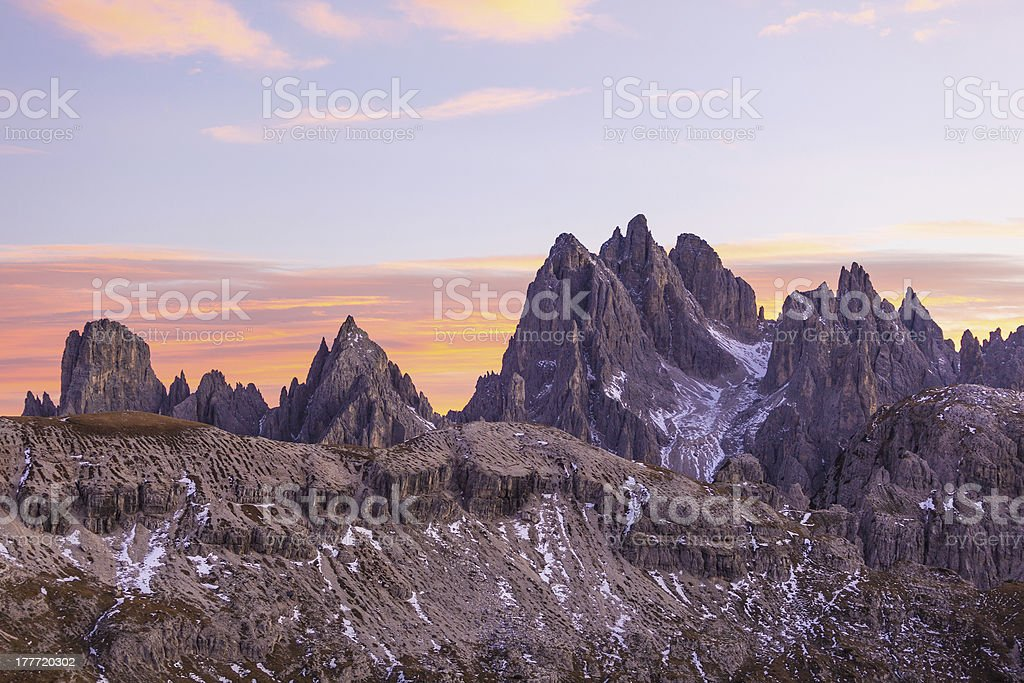 Dolomites in alpenglow royalty-free stock photo