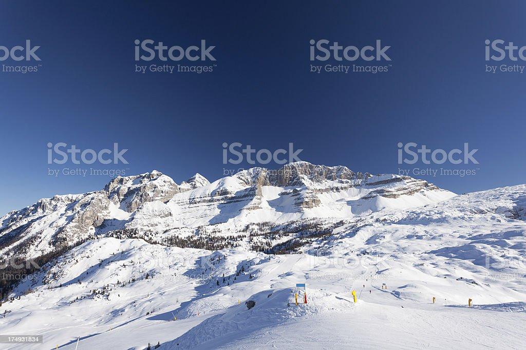 Dolomites in the Snow, Brenta National Park royalty-free stock photo