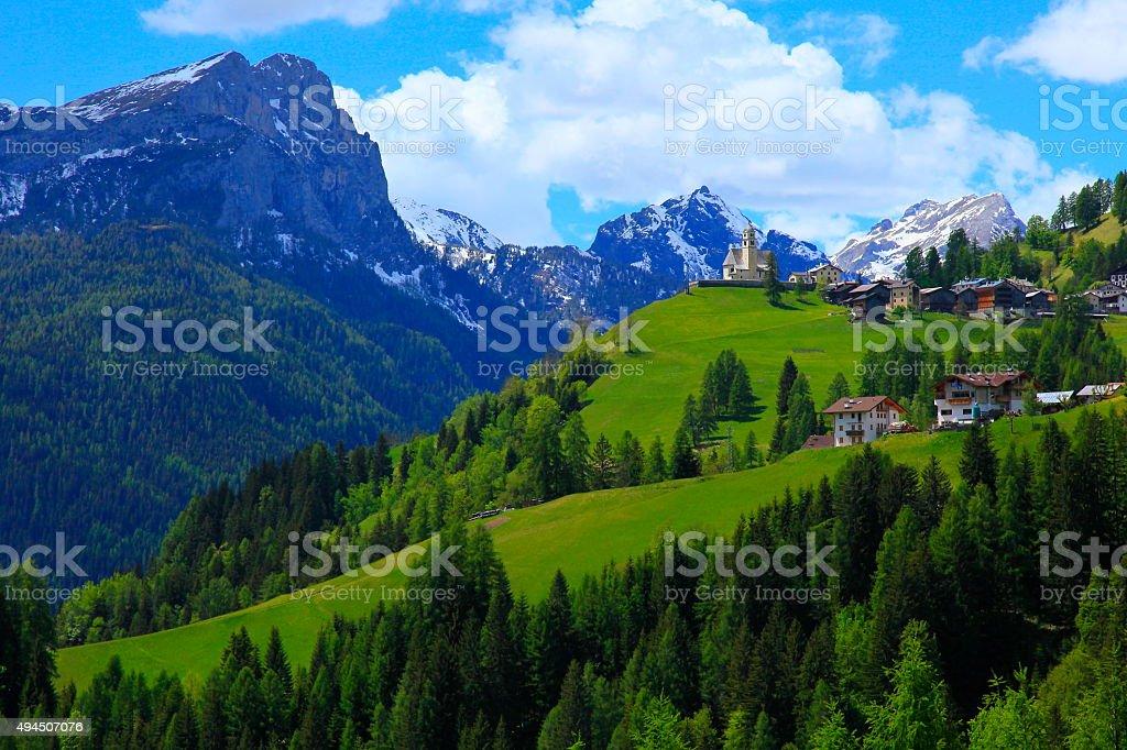 Dolomites italian alpine Colle Santa Lucia, Cortina and Giau Pass stock photo