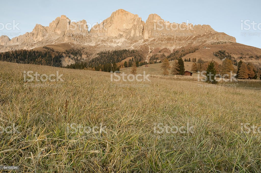 Dolomites, Italy: Catinaccio at sunset royalty-free stock photo