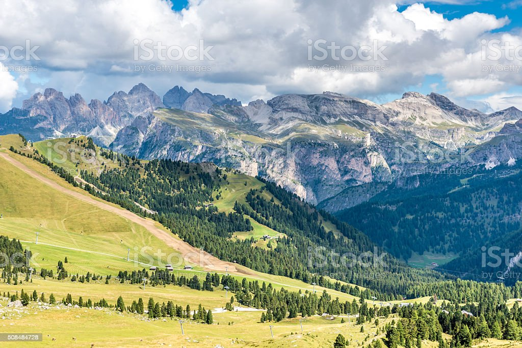 Dolomites Italy - Val Gardena -  Passo Sella stock photo