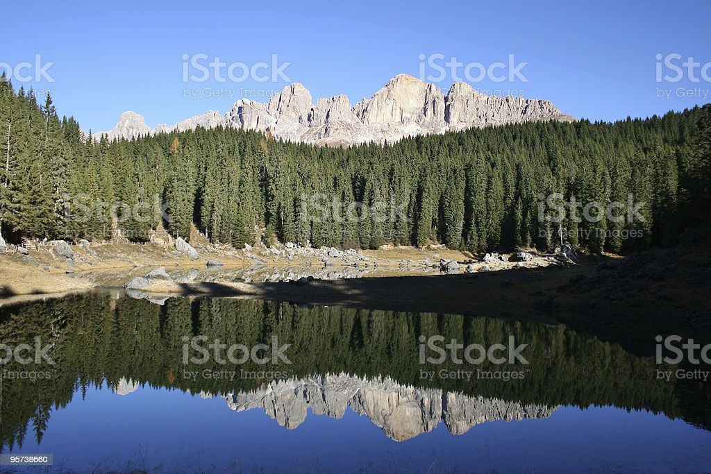 Dolomites - lake carezza royalty-free stock photo