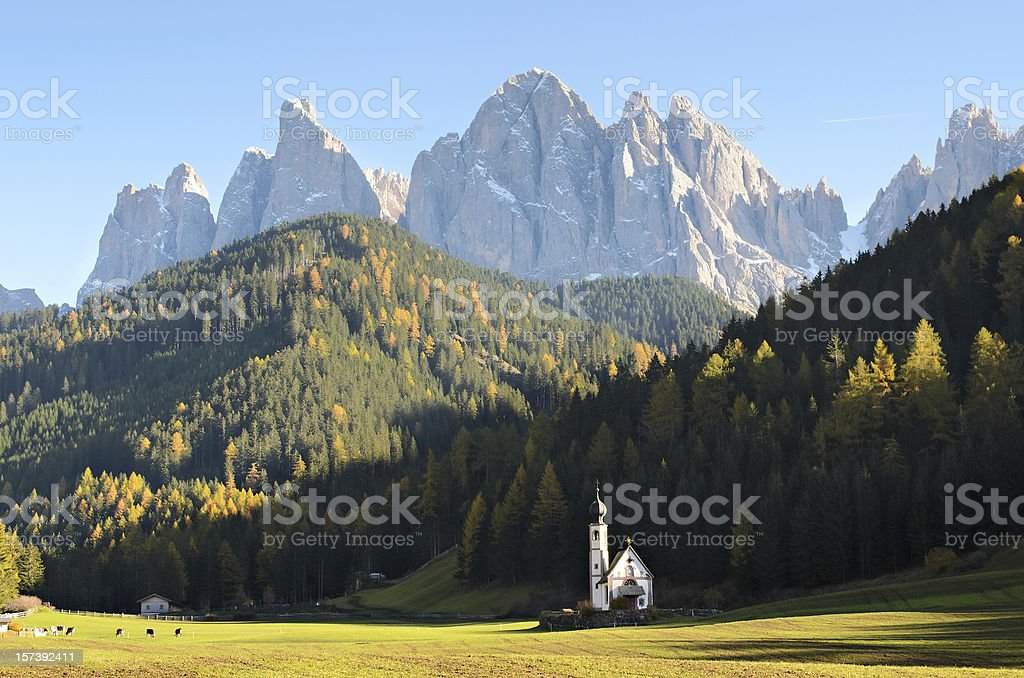Dolomites mountain church stock photo