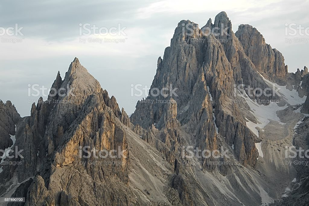 Dolomites mountain cliffs stock photo