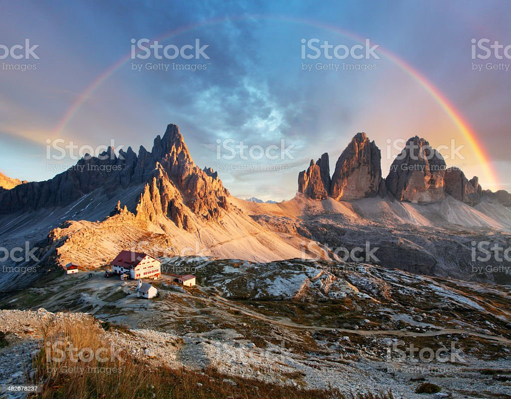 Dolomites mountain - Tre Cime di Lavaredo stock photo