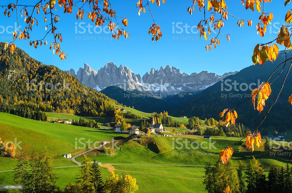 Dolomites mountain village in autumn stock photo