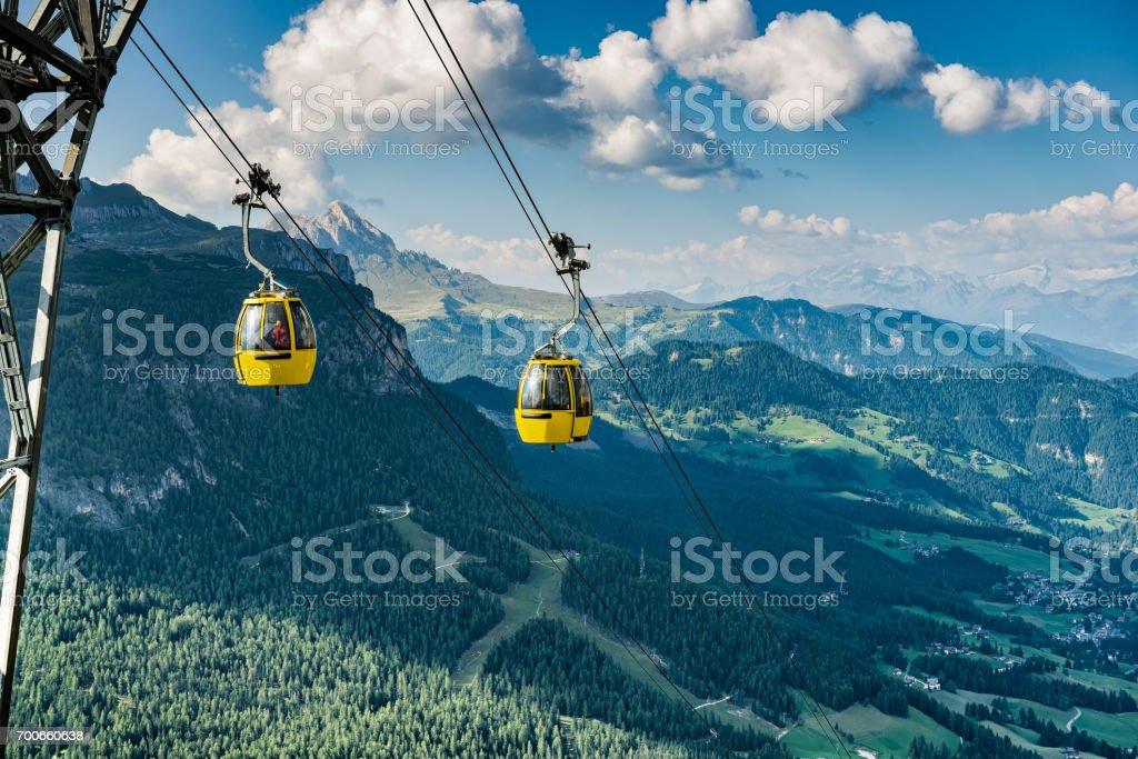 Dolomites mountains - Alta Badia, Piz La Ila. Gondola train. stock photo