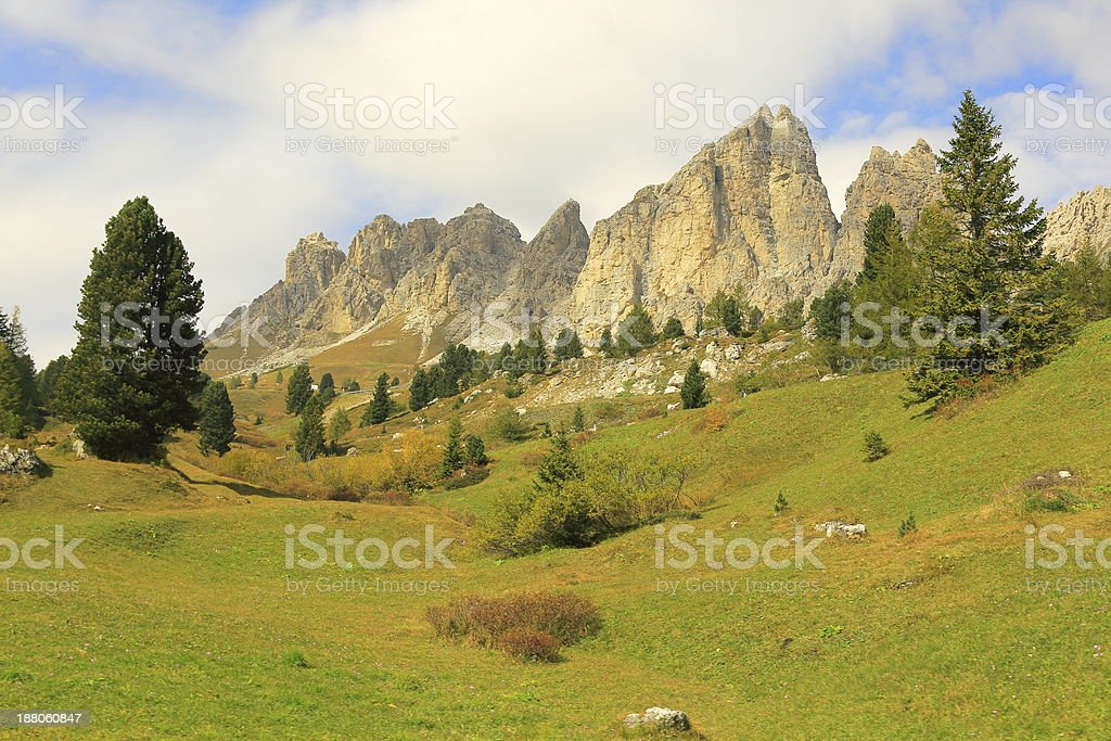 Dolomites mountains and meadow landscape in north Italy stock photo