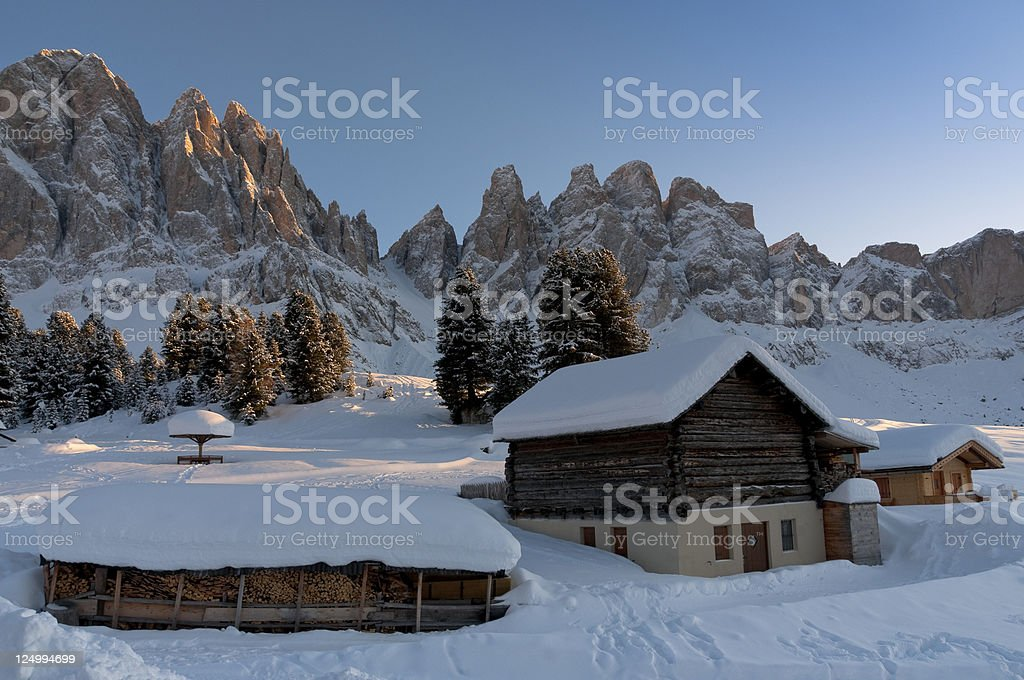 Dolomites: Odle mountain group at sunset in winter royalty-free stock photo