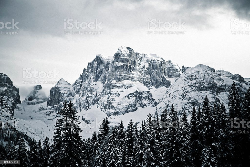 Dolomites of Brenta at Italian Alps in Madonna di Campiglio royalty-free stock photo