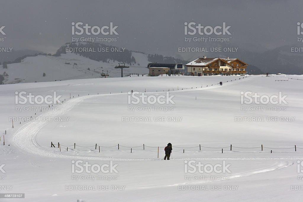 Dolomites (Siusi Alp) - People walking on the snow royalty-free stock photo