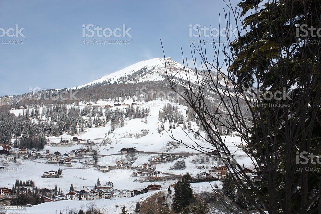 Dolomites skiing resort. Gardena. stock photo