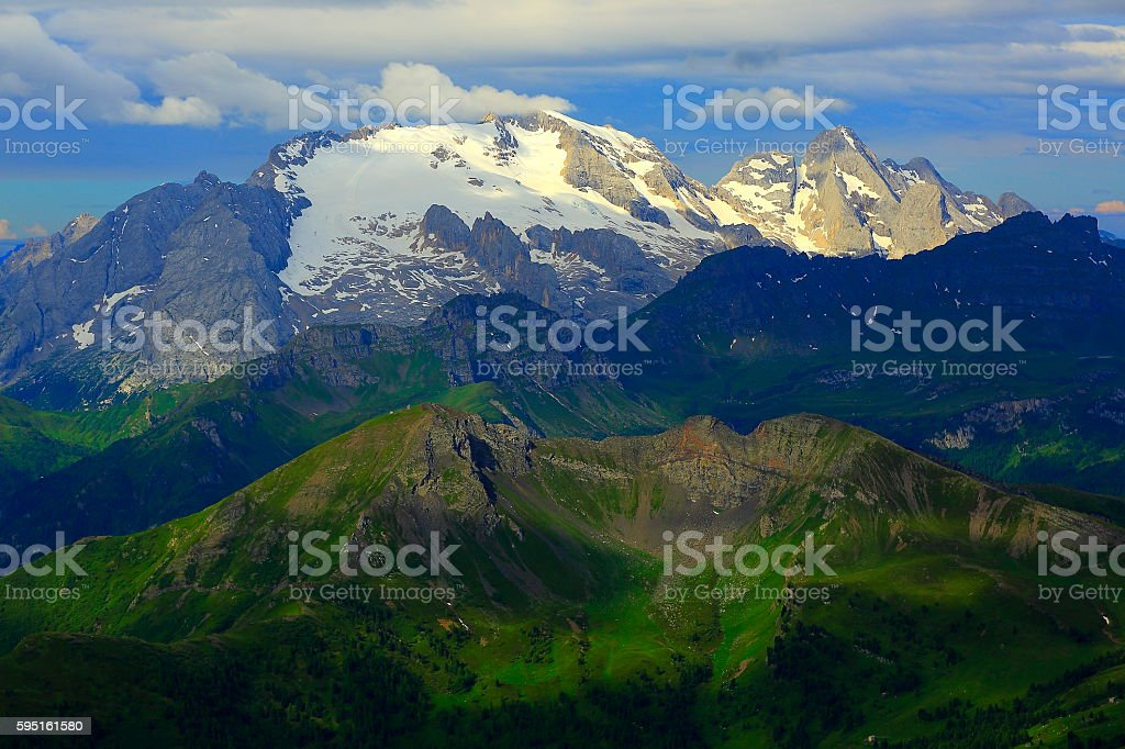 Dolomites sudtirol landscape panorama from Lagazuoi, Marmolada Massif stock photo