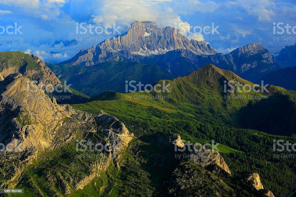 Dolomites sudtirol landscape panorama from Lagazuoi, Mount Civetta near Cortina stock photo