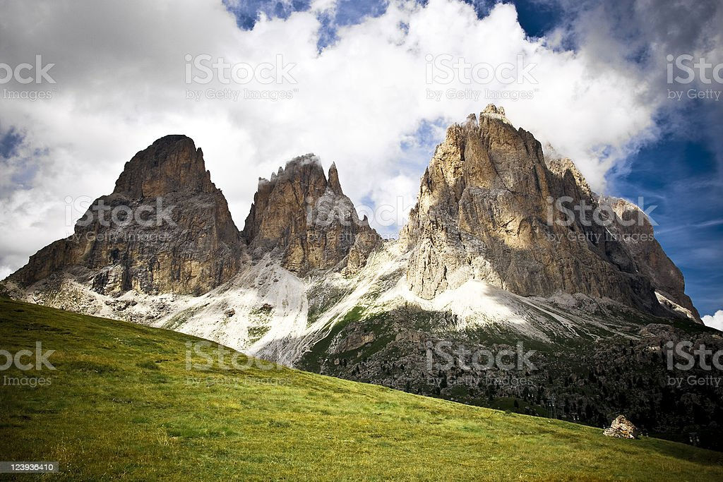 Dolomites Val di Fassa Italy, Europe Alpine Mountain Landscape, Overcast stock photo