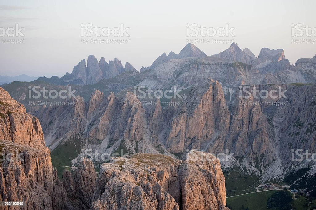Dolomites view from the Sella Group - ITALY stock photo