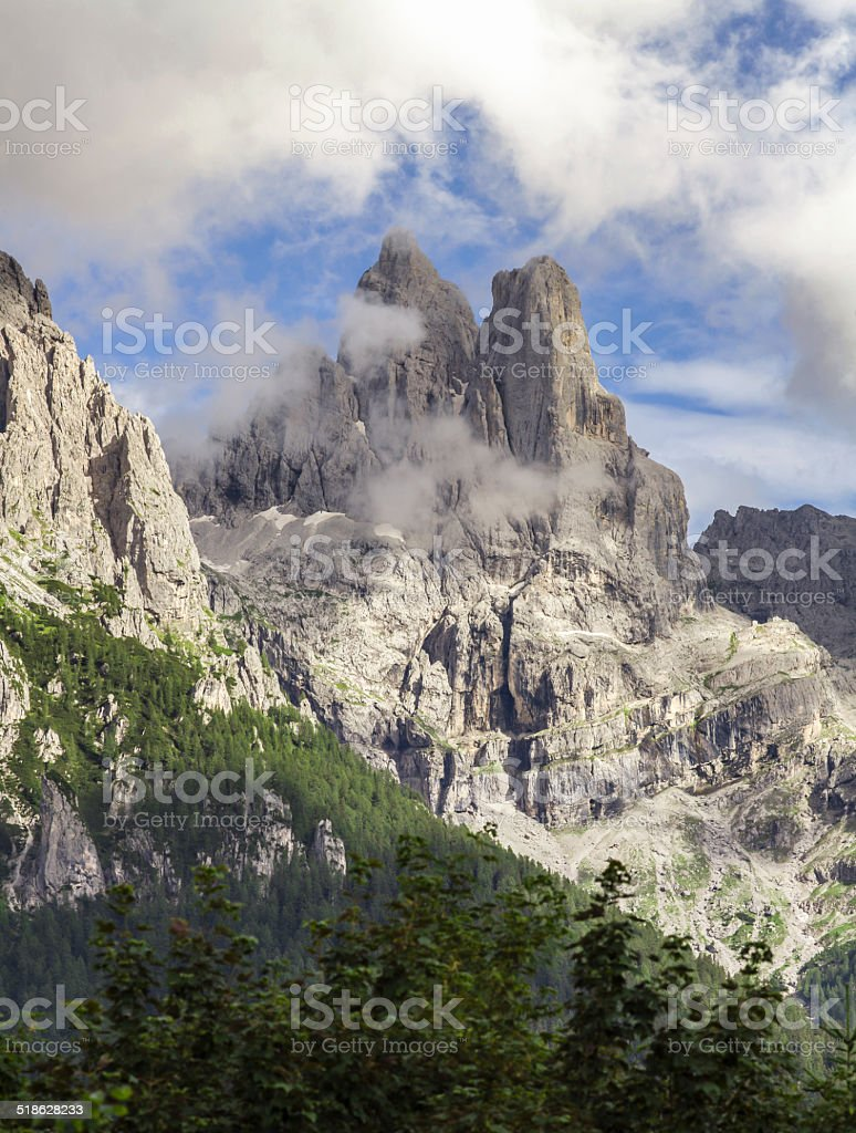 Dolomites: vision high peaks stock photo