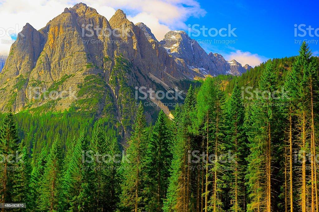 Dolomites wilderness near Cortina at sunrise, South Tirol stock photo