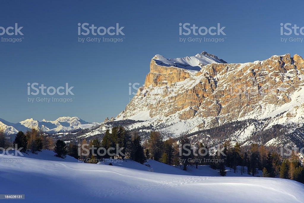 Dolomiti inverno Sasso della Croce da Pralongia stock photo