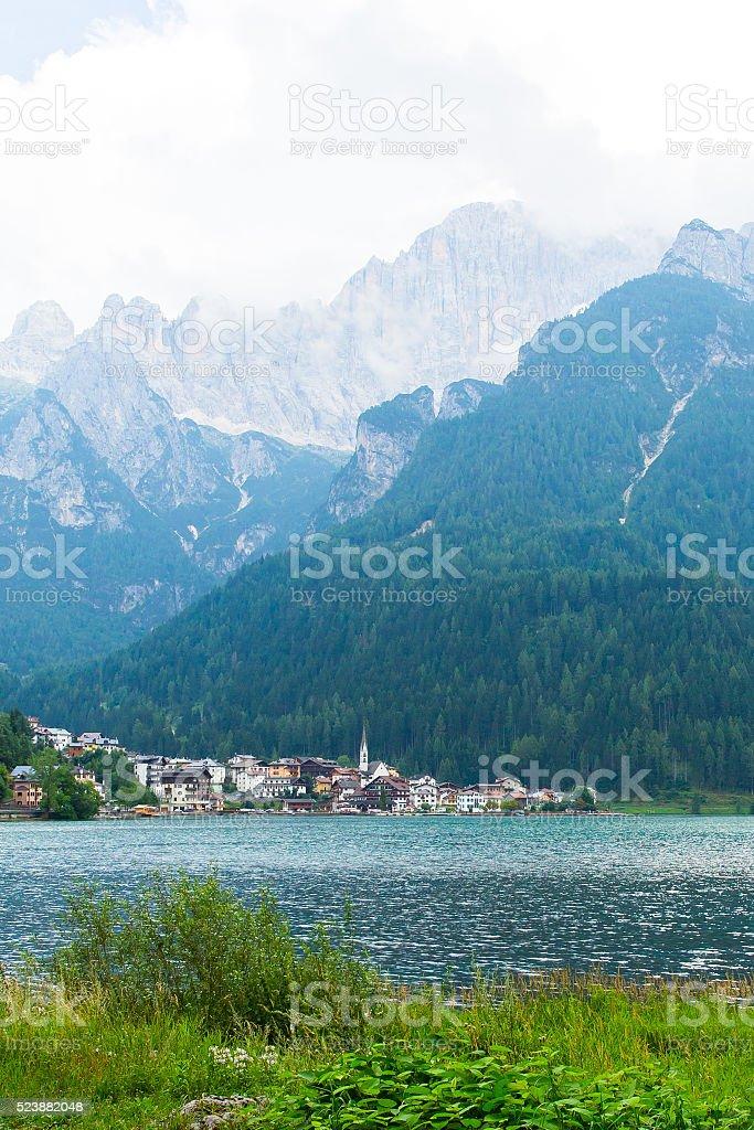 Dolomiti Italy, Monte Civetta 3220m, Alleghe lake stock photo
