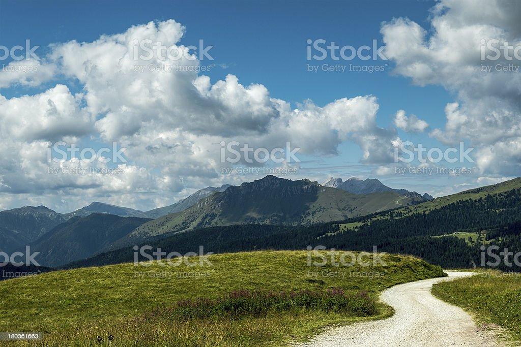 Dolomiti, panorama from Passo Rolle stock photo