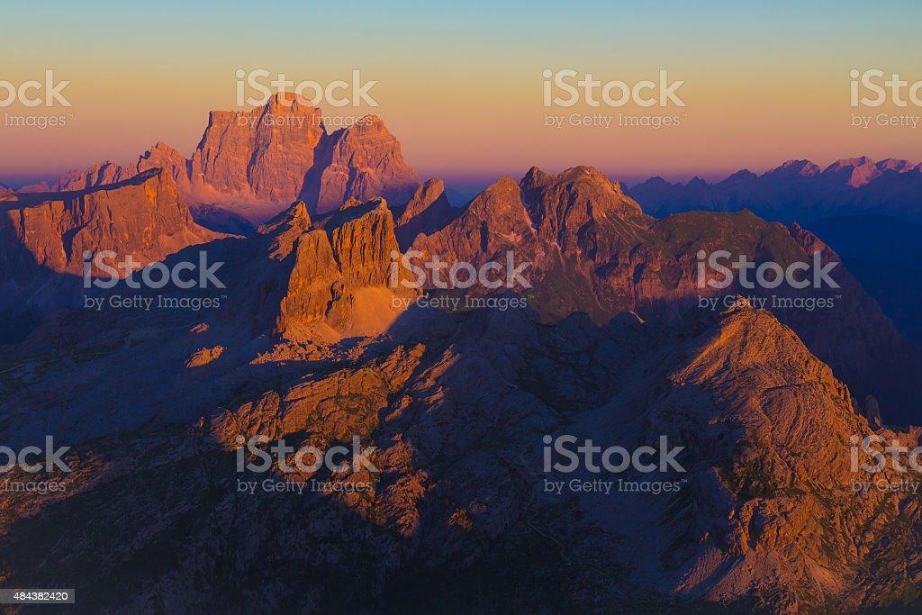 Dolomiti sunset from Lagazuoi, Dolomites, Alps, Italy stock photo