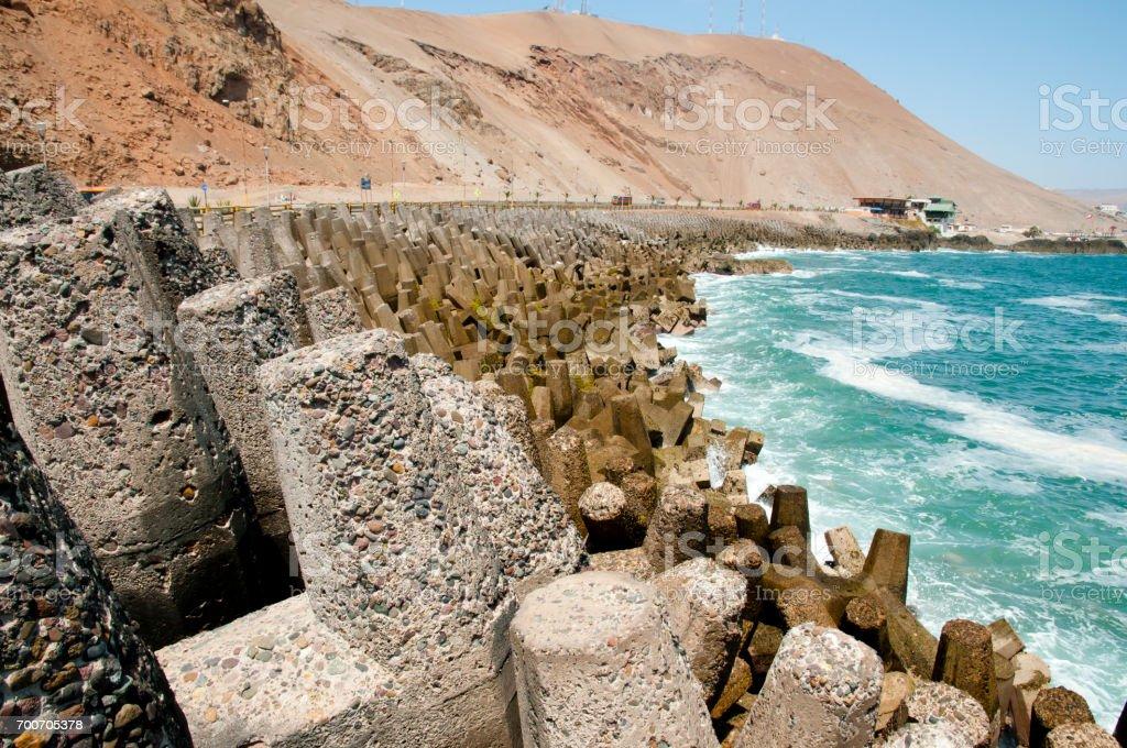Dolos Concrete Blocks - Arica - Chile stock photo