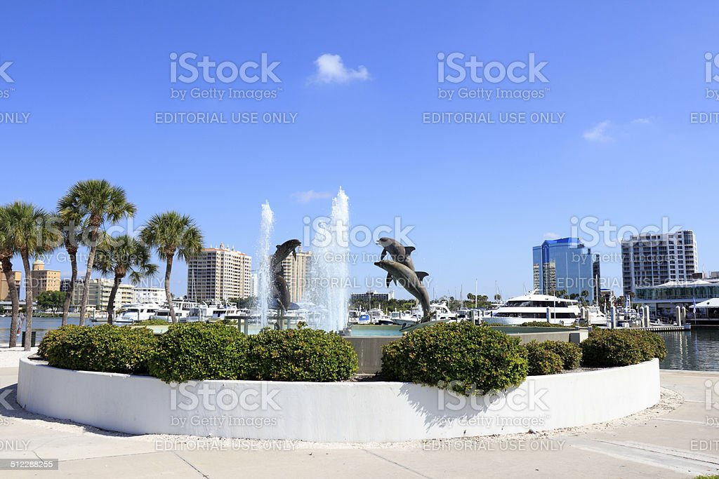 Dolphin Fountain near Downtown stock photo