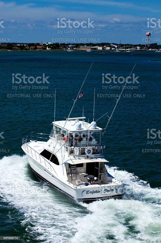 'Dolphin Seeker' Charter Sport Fishing Boat in Wildwood, New Jersey stock photo