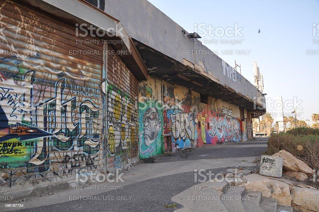 Dolphinarium Graffiti stock photo